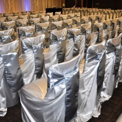 Affordable Chair Covers Calgary Hire Bunbury Affair Gallery Hotel Arts White Satin Self Tie Cover With Silver Sash At