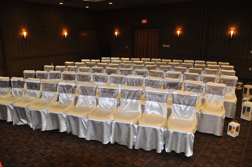 affordable chair covers calgary rolling desk mat affair gallery hotel arts white satin self tie cover with chocolate brown organza sash
