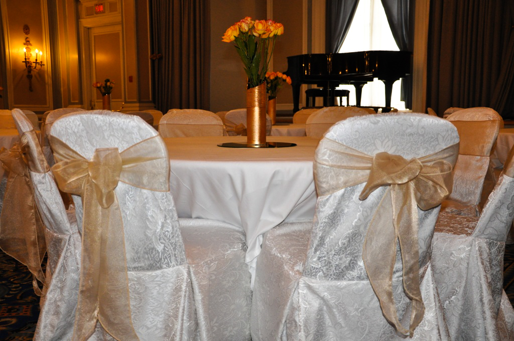 affordable chair covers calgary steel material affair gallery fairmont palliser hotel white damask with champagne organza sash