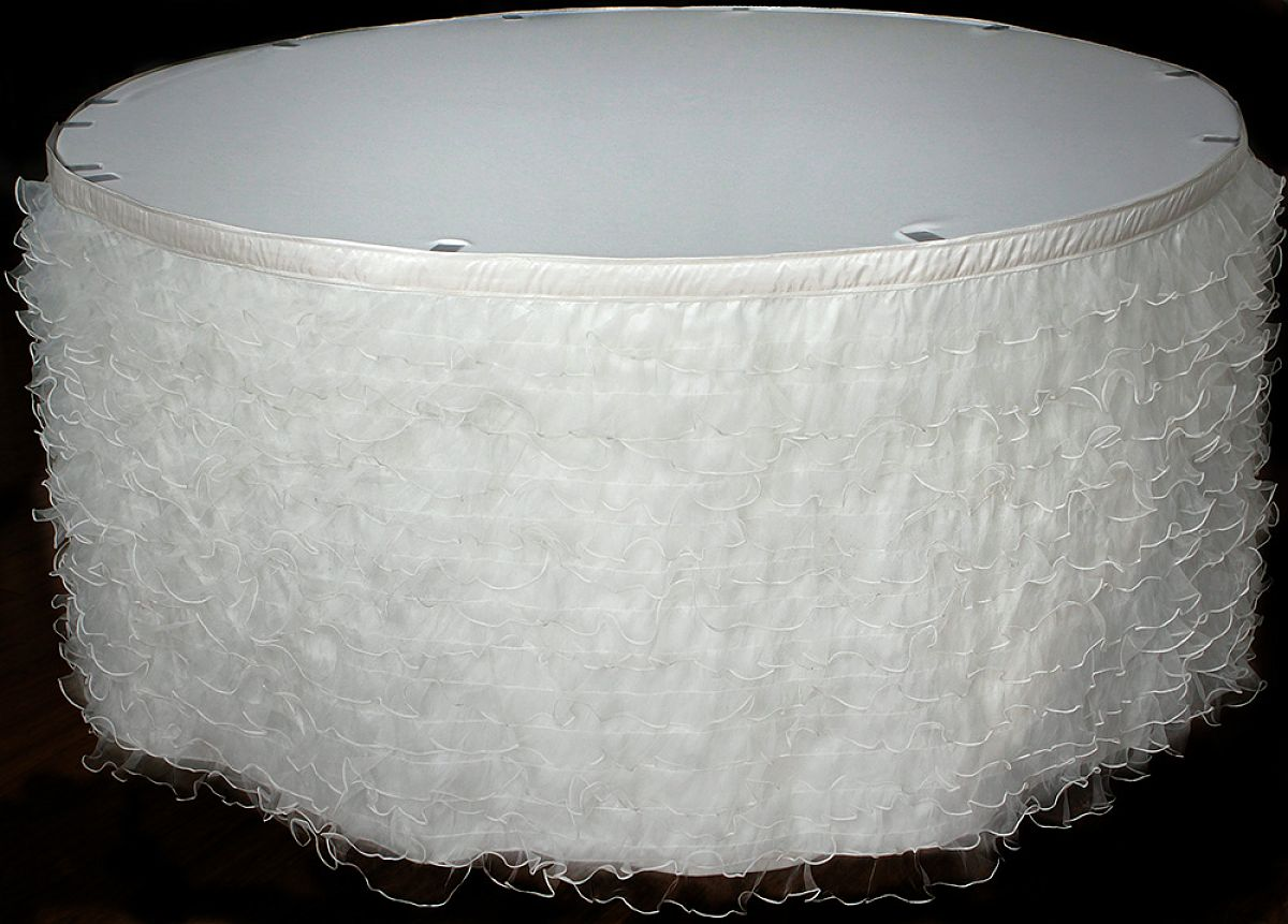 chair cover depot uk used power wheel chairs buy ruffled organza table skirt 14ft ivory from