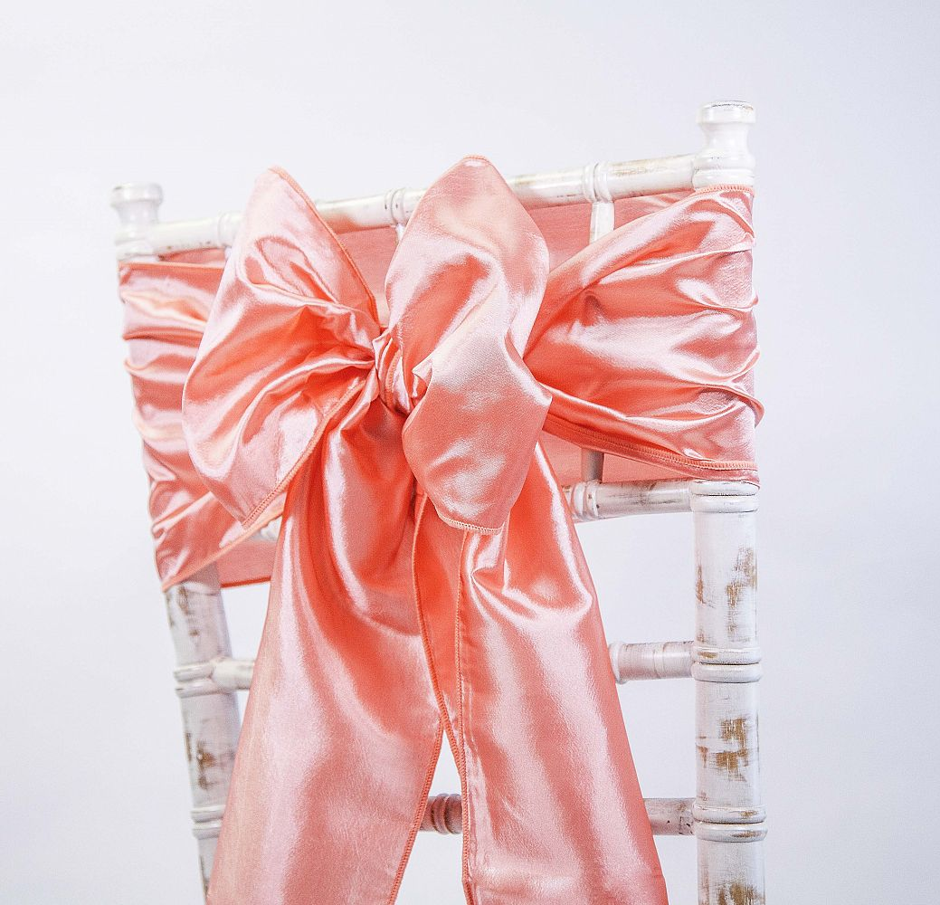 chair cover depot uk eastern butcher block table and chairs buy taffeta sash fiesta coral from