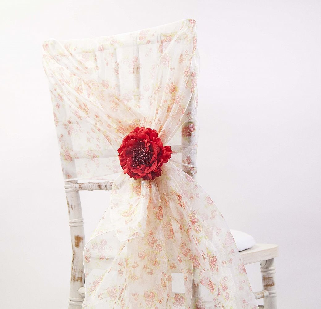 chair cover depot uk theater room dimensions buy vintage rose print organza hoods from