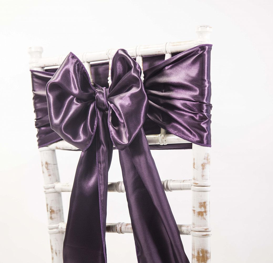 buy chair covers and sashes bedroom on wheels satin sash plum from cover depot