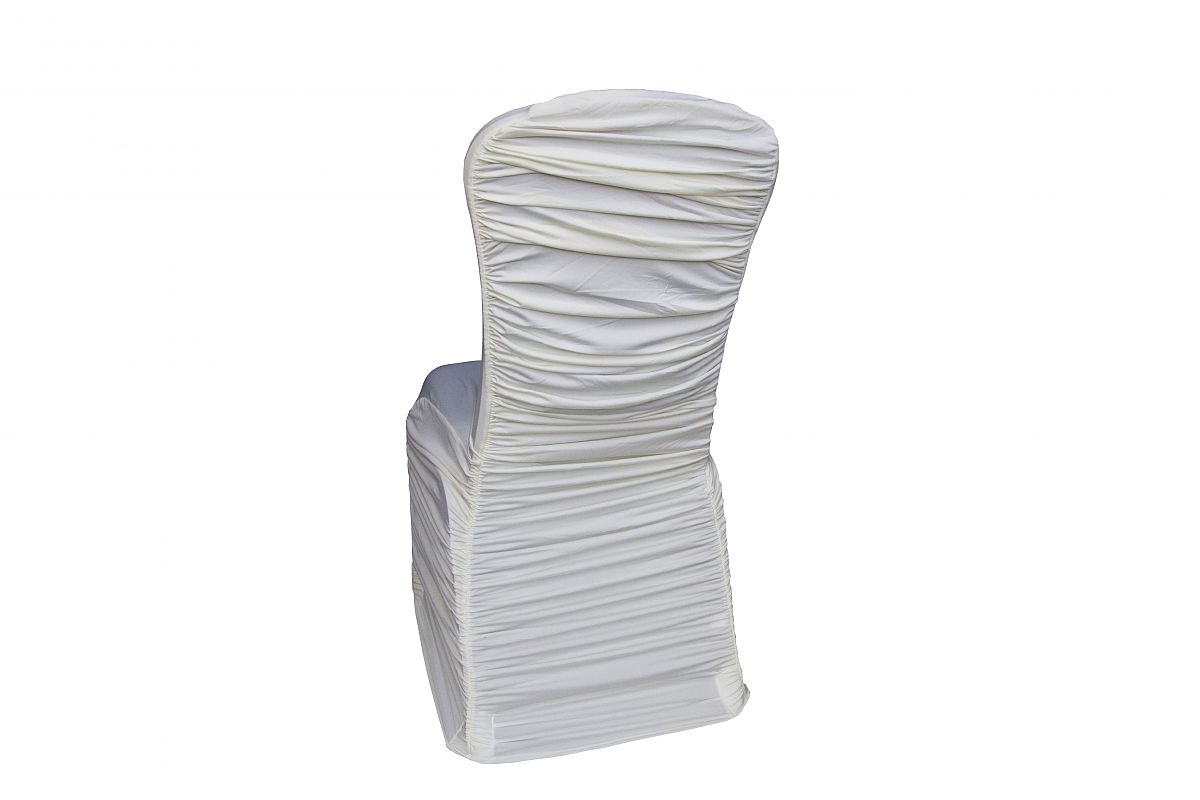 white ruched chair covers christmas parson buy lycra cover with elasticated pocket