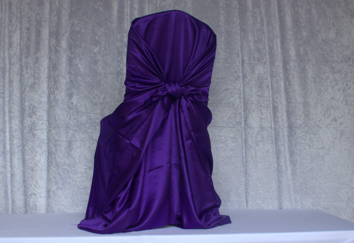 chair covers and more houston disney princess table set purple satin self tie cover chairs