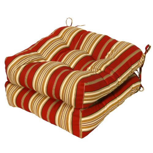 brentwood originals chair pads folding director chairs aluminum greendale home fashions indoor/outdoor cushions, roma stripe, 20-inch, set of 2 | ...
