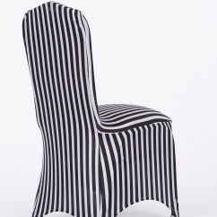 Black White Striped Chair Big And Tall Outdoor Folding Chairs Stripe Stretch Cover Decor