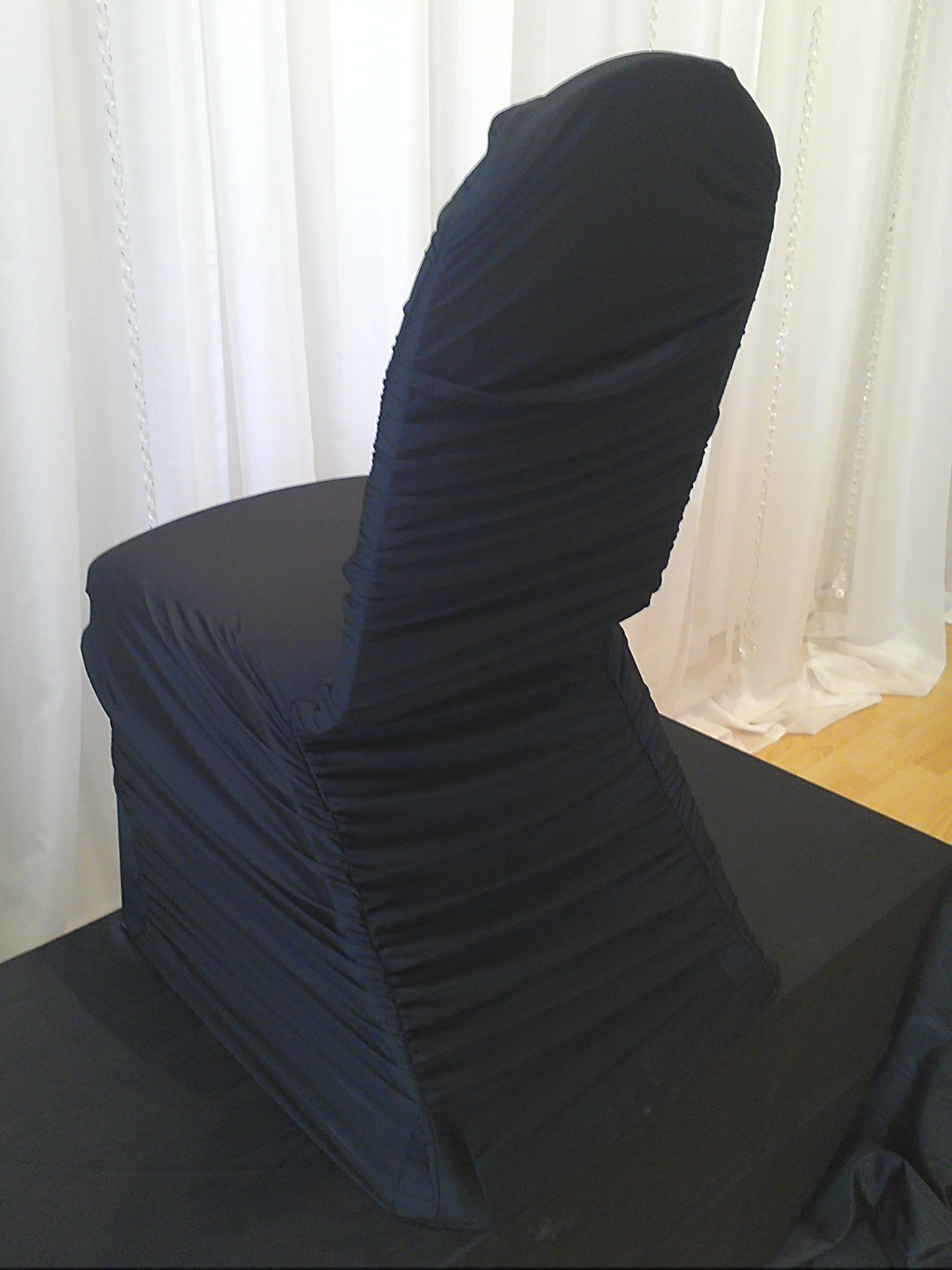 white ruched chair covers rocking chairs nursery ireland decor  black rouched cover