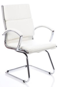 Woolwich White Leather Visitor Chair - Chrome Frame - BR000032