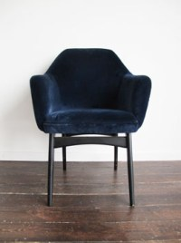 Vintage Blue Velvet Dining Armchairs.