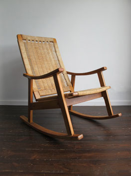 Vintage Beech & Papercord Rocking Chair, Habitat, UK.