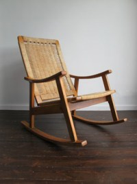 Vintage Beech & Papercord Rocking Chair, Habitat, UK.