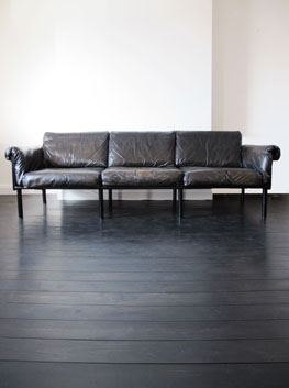 Leather  Oak Ateljee Sofa by Yrjo Kukkapuro for Haimi