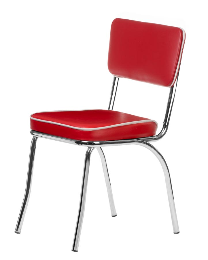 Chrome Retro Dining Chair with Red Vinyl Cushioned Seat