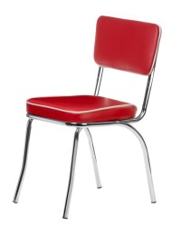 Chrome Retro Dining Chair with Red Vinyl Cushioned Seat ...