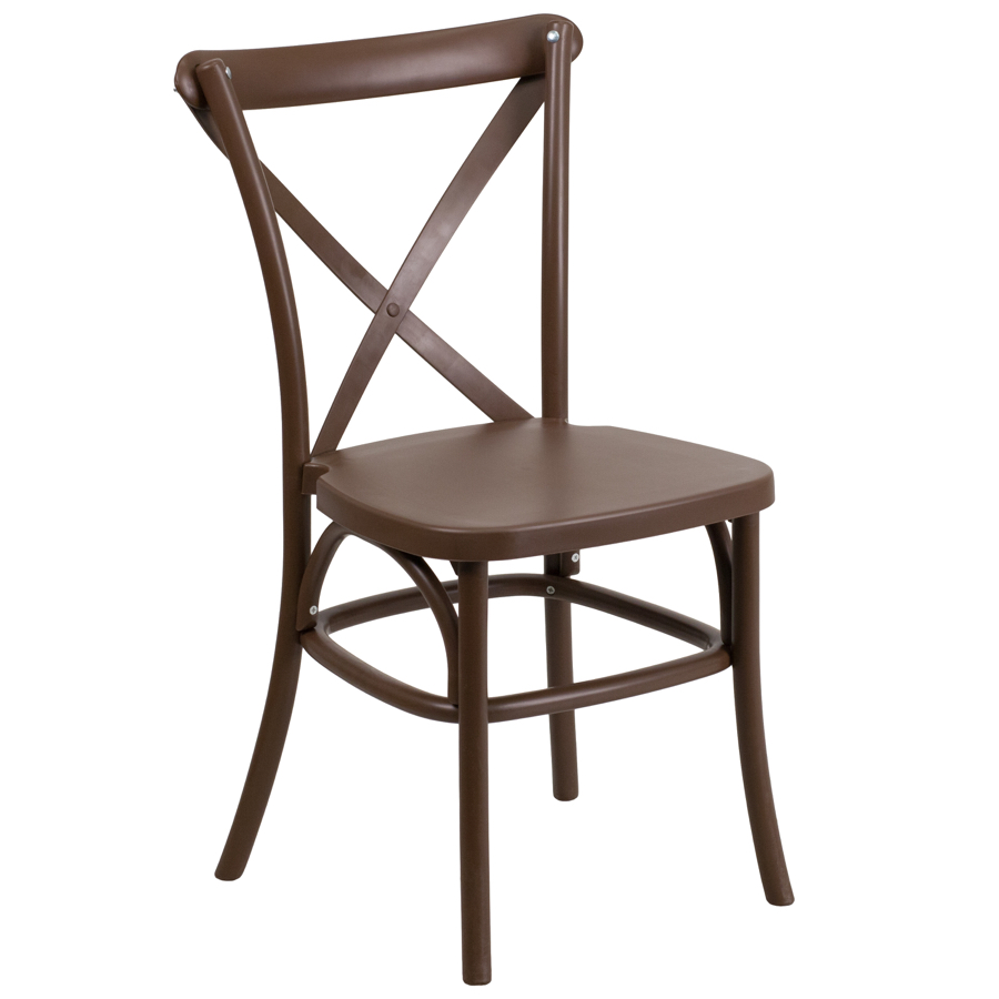 Resin Bistro Style Cross Back Chair EventStacking
