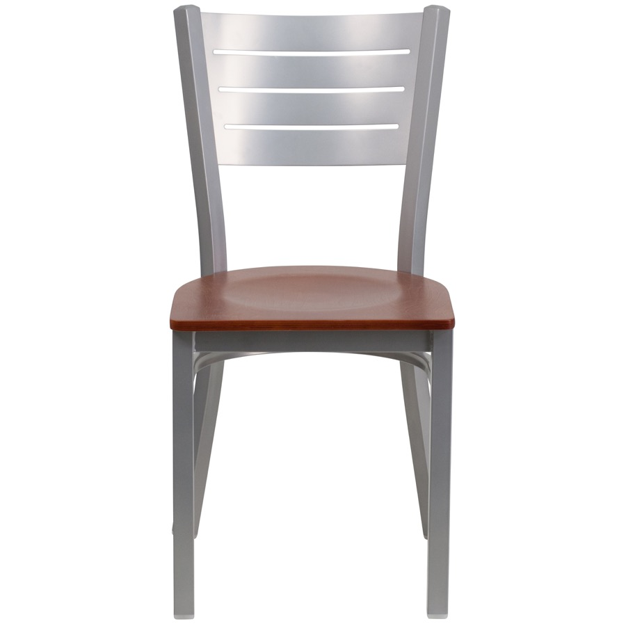 Silver Slat Back Metal Chair with Wood Seat Classic