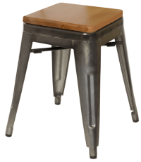 Galvanized Steel Backless Bar Stool with Wood Seat -18 ...