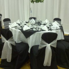 Cheap Black Chair Covers For Sale Set Of 4 Dining Chairs With Flair White Organza Sashes Bands Bling