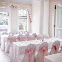 Green Banquet Chair Covers Mission Style Chairs For Sale With Flair Pink Latte Organza Sashes On White