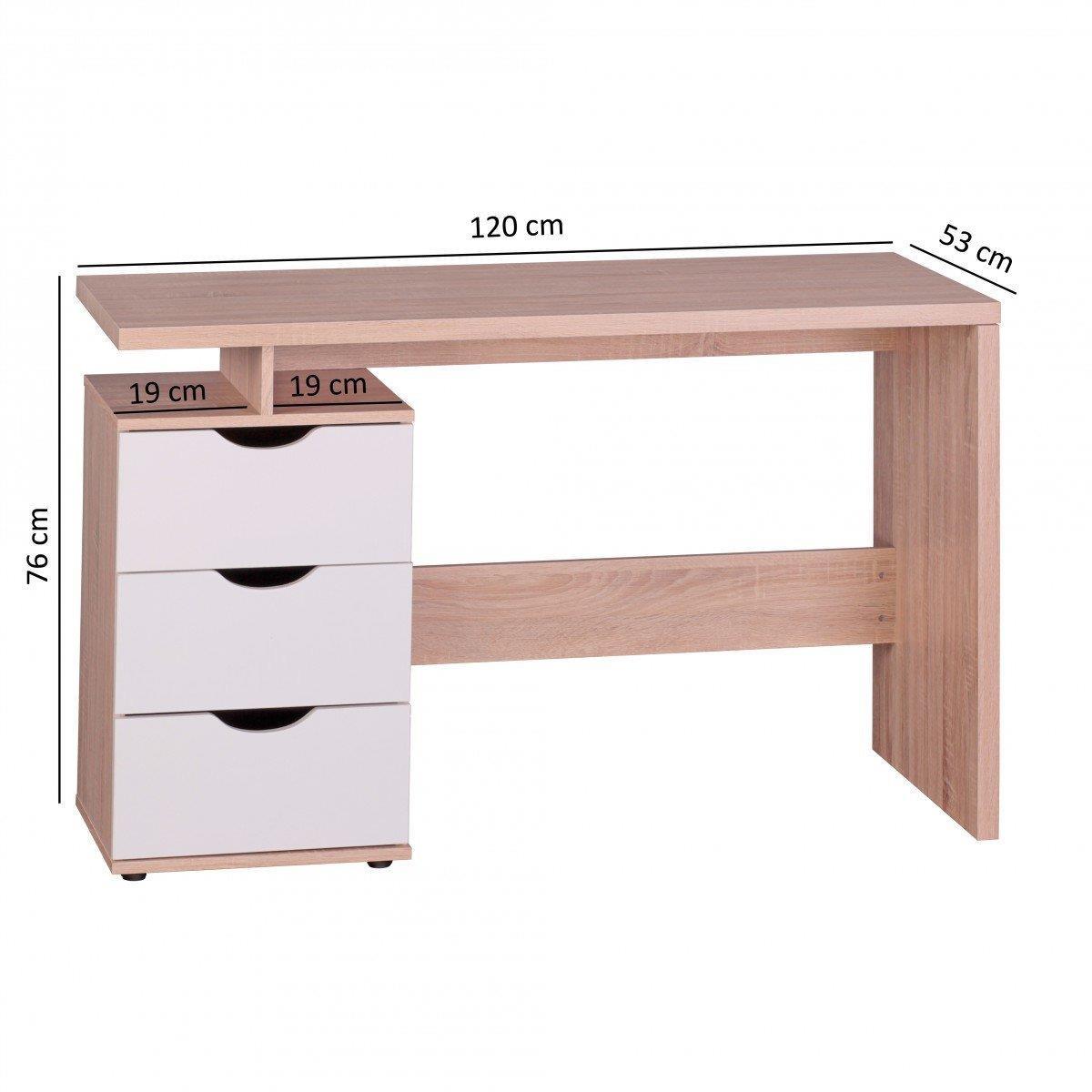 bureau informatique natali design moderne dimensions 120x53x76 cm en bois blanc chene