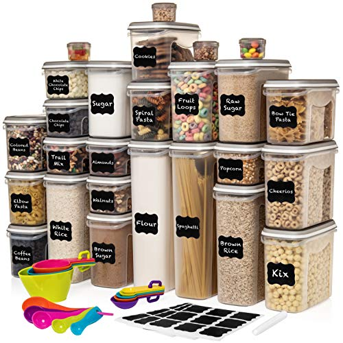 LARGEST Set of 52 Pc Food Storage Containers (26 Container Set) Shazo Airtight Dry Food Space Saver w Interchangeable Lid, 14 Measuring Cups + Spoons, Labels + Marker – One Lid Fits All – Reusable