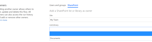Managing owners and users for your SharePoint list flows