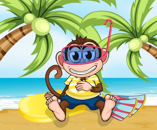 Illustration of a monkey with goggles at the beach