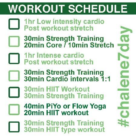 Chalene Johnson 7 Day Workout Schedule