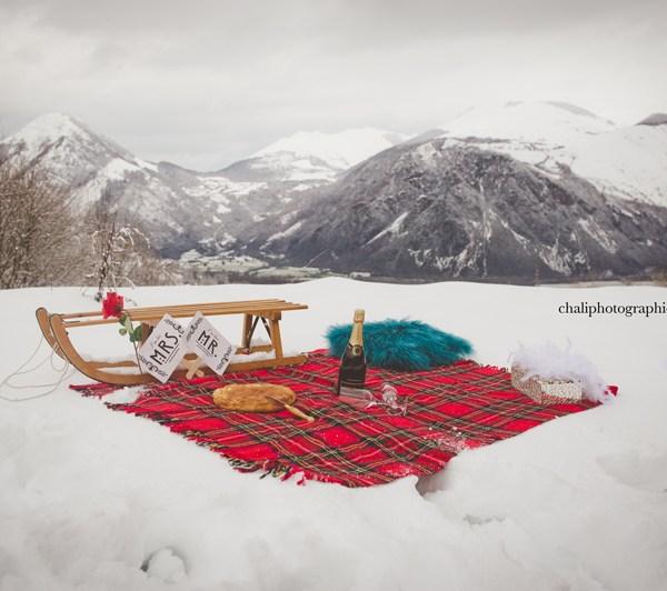 Séance photo à la neige