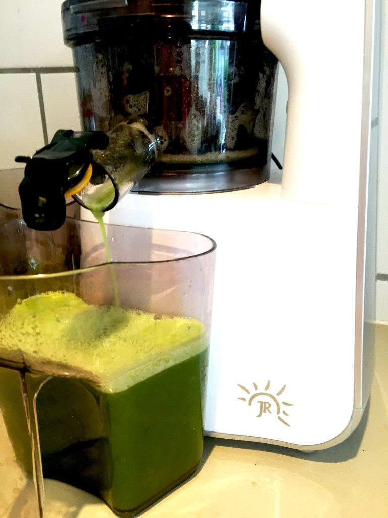 The JR 800S juicer mangles the fruit and vegetables in no time. It's an important part in my daily heart food routine.