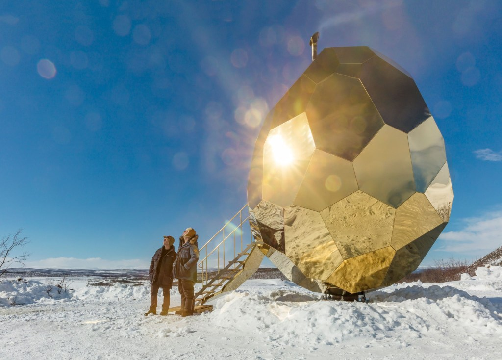 Artists Bigert & Bergström, the artists behind the Solar Egg outdoor sauna in Kiruna, northern Sweden.