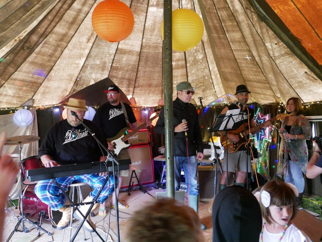 The Dadness, playing for the first time at DIYestival in Sussex. July 2017. Band made up of Malcolm Ward, Andy Costello and Rupert Webb. They had some guest singers too.