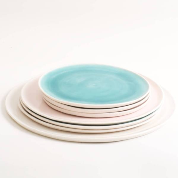 Handmade porcelain plate 3 sizes 5 colours. Hand thrown in England, dishwasher safe. These look great as part of a mix and match set. For every day dining and entertaining.