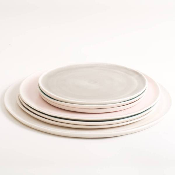 Handmade porcelain pastel plates, mix and match, available in 3 sizes 5 colours. Hand thrown in England, dishwasher safe. These look great as part of a mix and match set. For every day dining and entertaining.