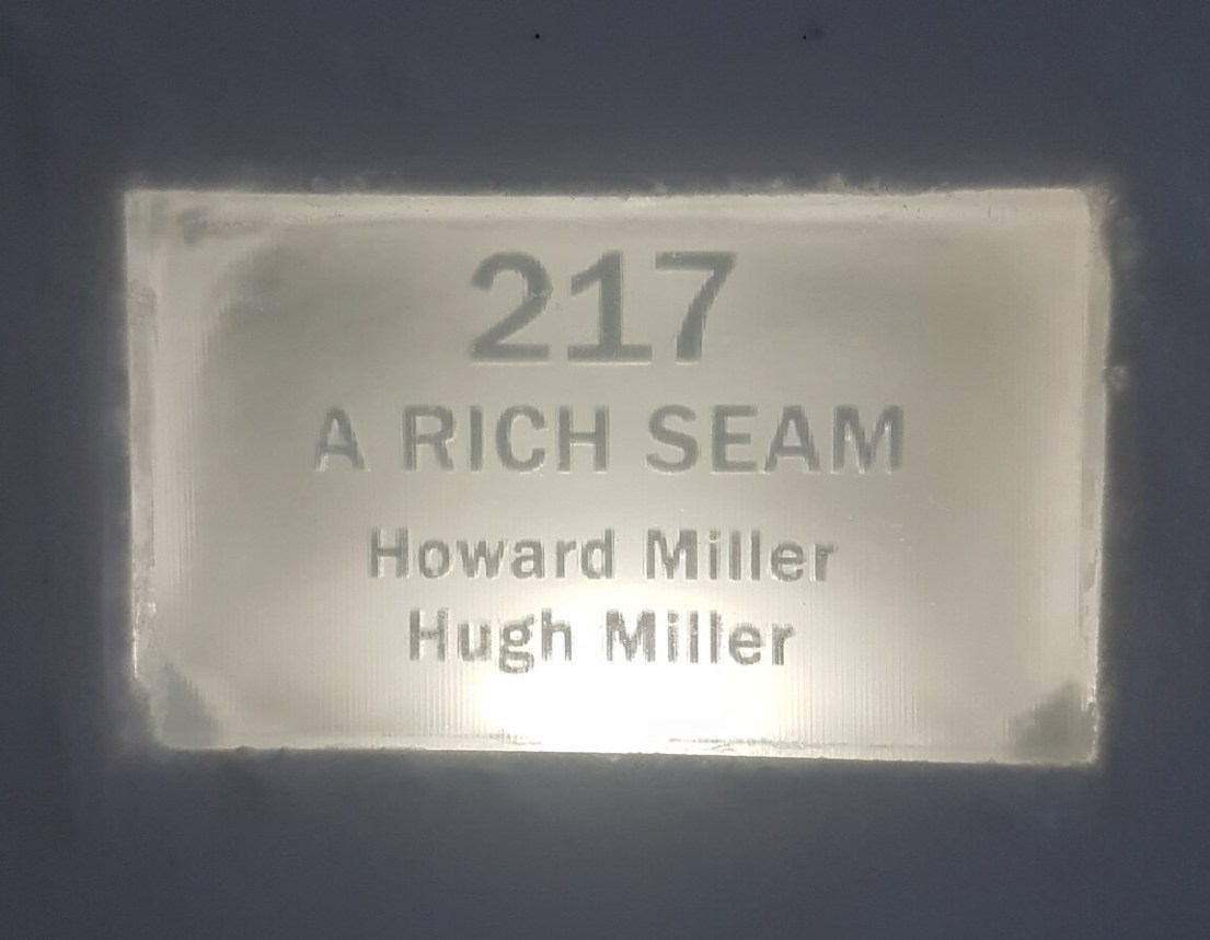 The sign for Hugh and Howard Miller's room at the ICEHOTEL 2018: A Rich Seam. This theme is based on digging through snow and ice for a seam, and then continuing digging further for more discovery.