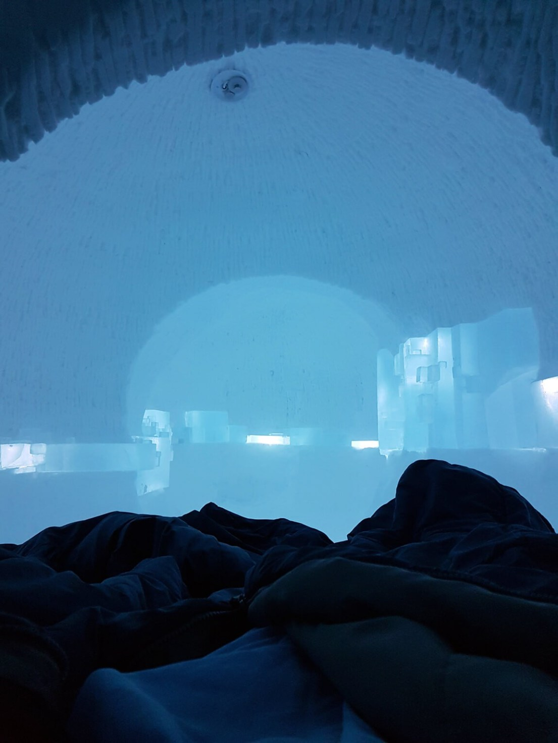 The first night the rom we build at the Swedish ICEHOTEL, above the Arctic Circle