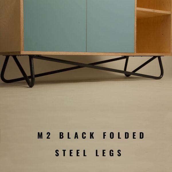 Black folded steel legs on the SB2 sideboard by OOTW, on Chalk & Moss.