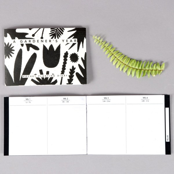 The gardeners diary gives you a year of planning your planting, reminders, notes, drawing, shopping lists and more. Packed into a handy A6 format. A beautiful botanical design by Wald, sold on Chalk & Moss (chalkandmoss.com).