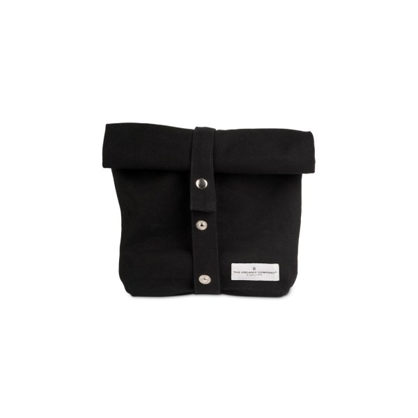 Earth friendly eco lunch bag in pure cotton canvas by Organic Company on Chalk & Moss. Available in black, natural white and dark blue. Breathable and washable. Shown here in black.