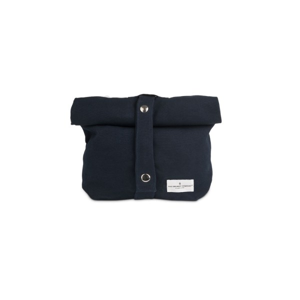 Eco lunch bag in pure cotton canvas by Organic Company on Chalk & Moss. Available in black, natural white and dark blue. Shown here in dark blue with adjustable strap.