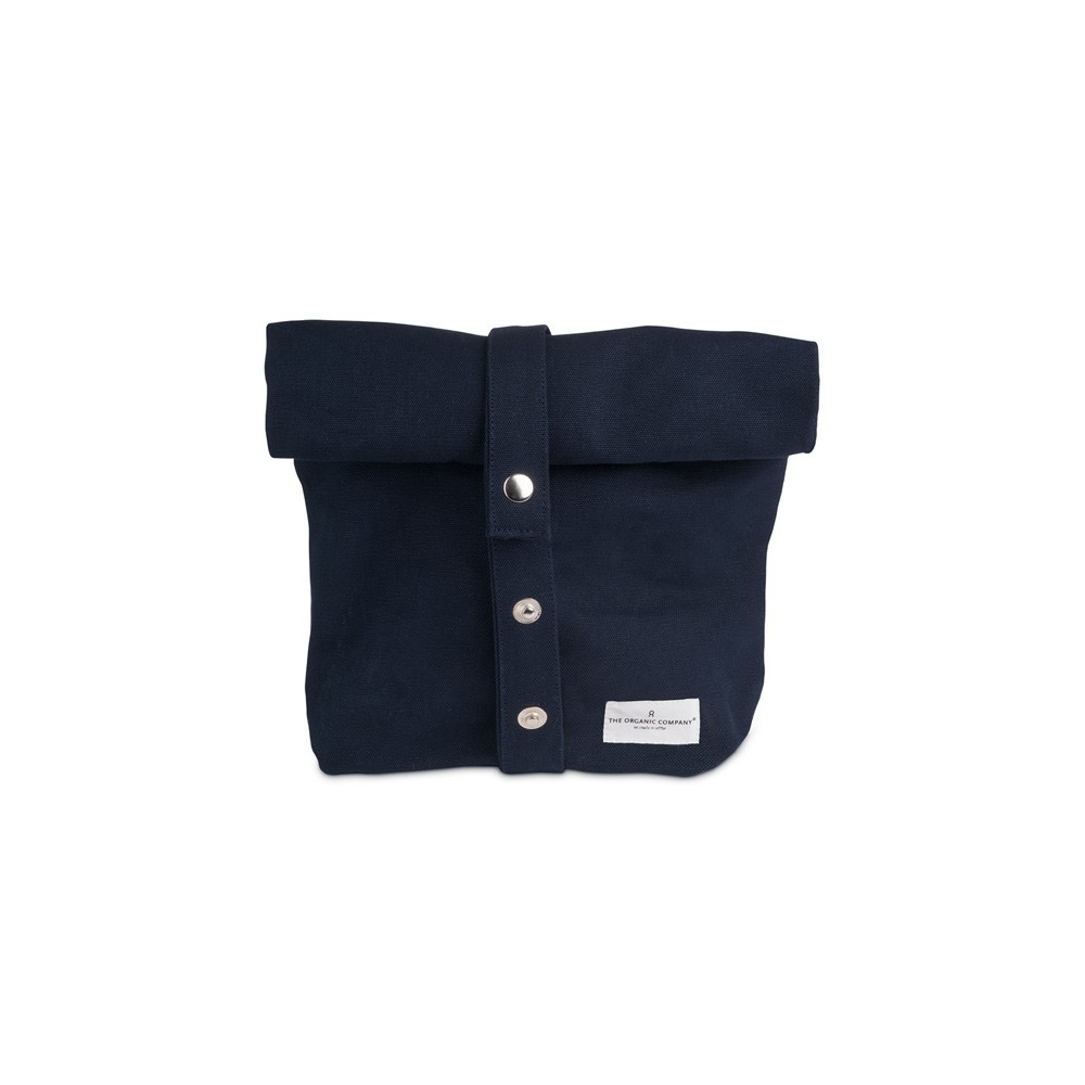 Eco lunch bag in pure cotton canvas by Organic Company on Chalk & Moss. Available in black, natural white and dark blue. Shown here in blue with adjustable strap closed.