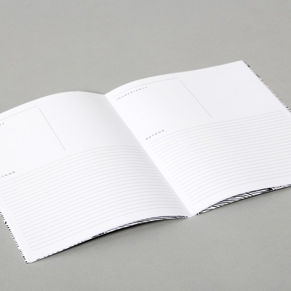 Recipe book showing ingredients and method, plus space for notes. Rosemary and lemon cover design. 22 x 16cm (A5)