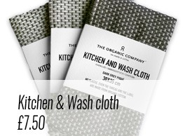 Plastic Free July - kitchen and wash cloth in 100% organic cotton. 3 colours available on chalkandmoss.com.
