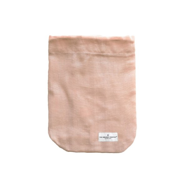 All purpose cotton drawstring bag in pale rose, size medium. Also come in black and clay, in 3 sizes. Made naturally plastic free by Denmark's The Organic Company, your gateway to zero waste living on chalkandmoss.com!