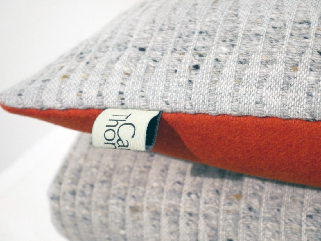 Camilla Thomas - Sea Fret collection - 70% merino wool cushion and throw. Designed in Wales, made in Lancashire.