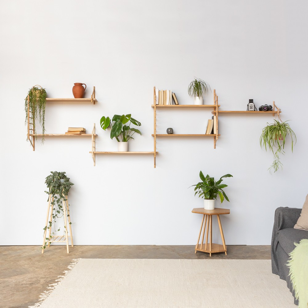 Wooden Wall Shelving Components - MIMA Small - Chalk & Moss