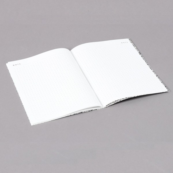 2019 diary in monochrome design with a month to view. This shows the back of the book with space for notes, sketches and more. This notes page has a stylish dot design. Plan your year in style! 22x16cm