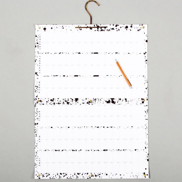 Year planner, here shown with the first two quarters. The planner can be hung either with one A3 sheet on top of the other (3 months), or with one attached below the other, to show the full year in one view. Each sheet is A3 (42x30cm), with a size W42 x H110cm fully displayed. Monochrome design by Wald, available on chalkandmoss.com.