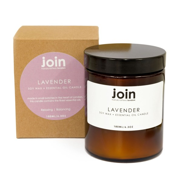 Lavender candle handmade in London from 100% vegan soy wax and high quality pure essential oil. Lavender is a traditional aromatherapy treatment for anxiety, stress and sleep. Its warm glow creates a soothing aroma. The glass jar candle is packaged in 100% recycled materials.